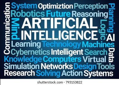 Artificial Intelligence Word Cloud on Blue Background