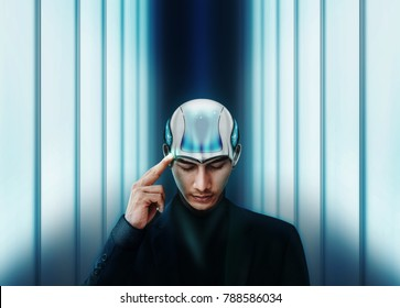 Artificial Intelligence Working Together with Human Concept, Businessman with AI Robot Head are Thinking, finger on head and closed eyes, Future Interior as background, Photo Manipulation
