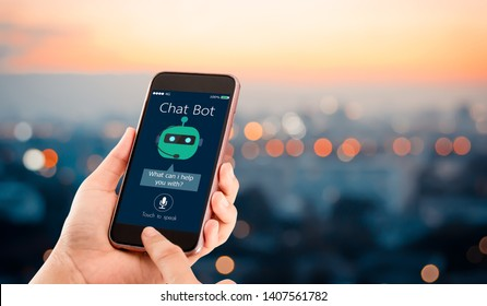 artificial intelligence,AI chat bot concept.Hands holding mobile phone on blurred urban city as background