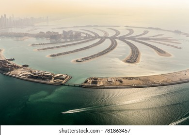 The Artificial Jumeirah Palm Island On Sea, Dubai, United Arab Emirates