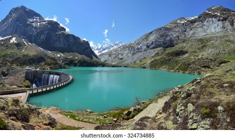 An artificial lake is formed with the Gloriettes dam on the Gave d'Estaube river in the Haute Pyrenees.