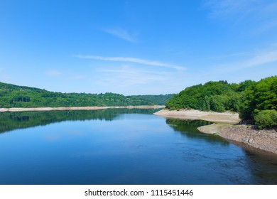 artificial lake in French Auvergne in Lanobre
