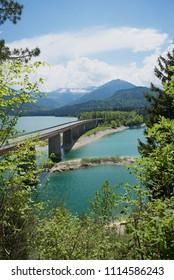 artificial lake sylvenstein and bridge, sunny landscape upper bavaria