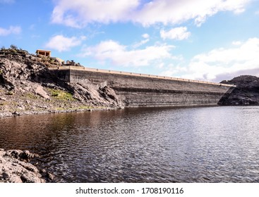 Artificial Lake Water Dam in the Canary Islands Gran Canaria