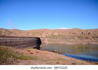 Artificial Lake Water Dam in the Canary Islands Gran Canaria