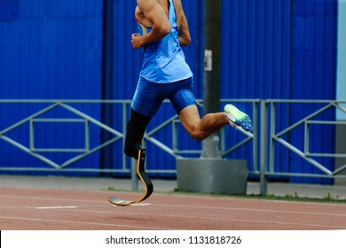 artificial leg limb athlete runner running in athletics competition