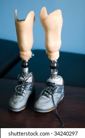 Artificial legs await fitting for a young boy at the Philanthropic Association for Disabled Care (PADC) in Southern Lebanon.