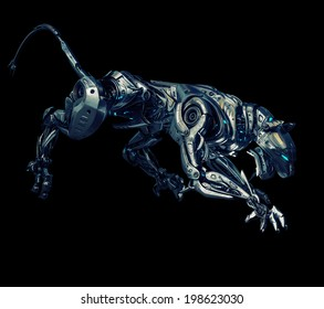 Artificial model of panther / Futuristic robotic beast of prey on black