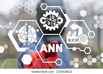 Artificial Neural Network (ANN) Industry Concept. Industrial Smart Intelligence Networking Deep Learning Machine Automation Production.
