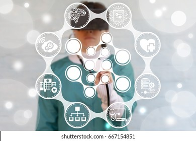 Artificial neuron cells in concept of artificial intelligence in health care. Neural medical 3d virtual augmented reality technology. Smart anatomy microchip in human body treatment.