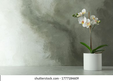 Artificial orchid plant in flower pot on light grey marble table. Space for text