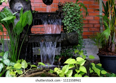 Artificial Outdoor Fountains And Waterfalls For Home., Waterfall Decoration  Outdoor And Tree With Brown