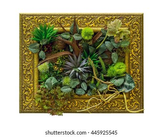 Artificial plants in the frame.