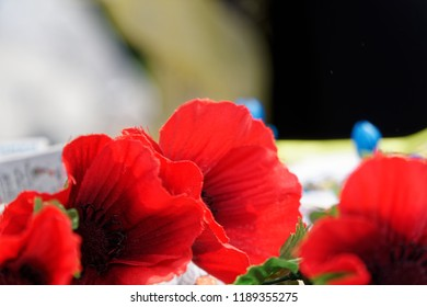 Artificial poppies, close-up background. Remembrance. Red.