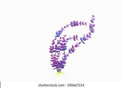 artificial purple marine plant on white background
