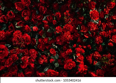 Artificial red rose background