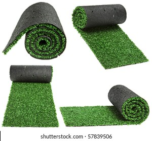 artificial rolled green grass for cover sports field isolated on white background