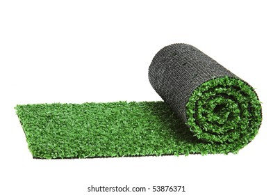 artificial rolled green grass, isolated on white background