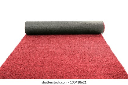 Artificial rolled red grass, isolated on white