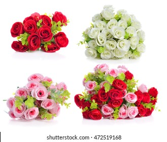 Artificial rose flowers isolated on white background.