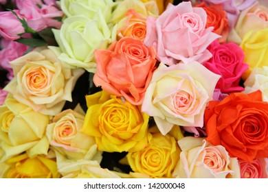 Artificial rose flowers mixed bouquet