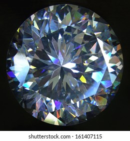 Artificial round brilliant cut diamond at black background