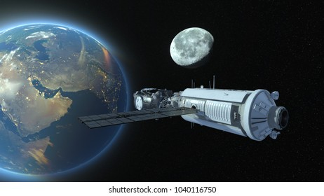 Artificial satellite /3D CG rendering of an artificial satellite. Elements of this Image Furnished By NASA.