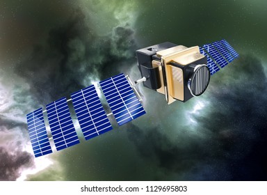 artificial satellite concept 3D rendering in the space green nebula