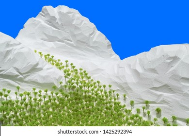 Artificial snow mountain and forest.