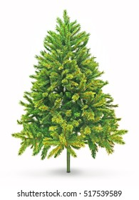 Artificial spruce tree on a white background