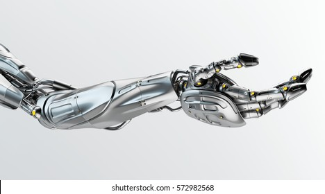 Artificial steel futuristic robotic arm with asking gesture, 3d render / Steel robotic arm stretched