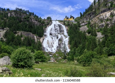 Artificial waterfall Cascata del Toce in Piedmont, Italy