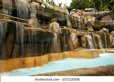 Artificial waterfall on hot springs in Nha Trang, Vietnam