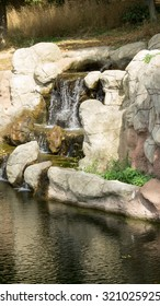 Artificial waterfalls in the zoo