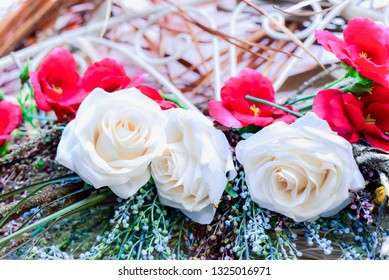 Artificial White and Red Roses for Valentine's Day