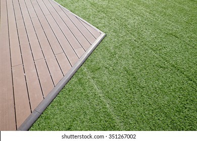 Artificial wood and grass floor, Abstract background
