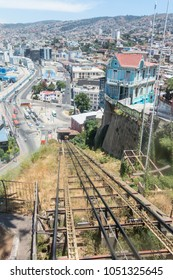The Artilleria funicular in Valparaiso, Chile. The elevator was built in 1892 along the sea port and is 175 meters tall.