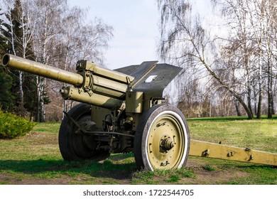 Artillery, green gun, artillery cannon gun ordnance for soldier warrior in the world war in the park, anti-tank guns during the Second world war obsolete gun
