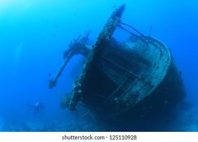 Artillery Gun on stern of SS Thistlegorm shipwreck