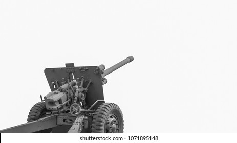 Artillery gun. Gun of the second world war. Light howitzer Long rifled barrel. Isolated on white .Business go to success Concept