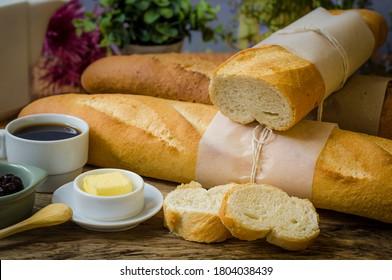 Artisan baguette: traditional crusty baguette
