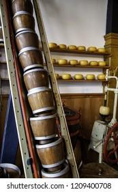 Artisan edam cheese, detail of Dutch cheese making
