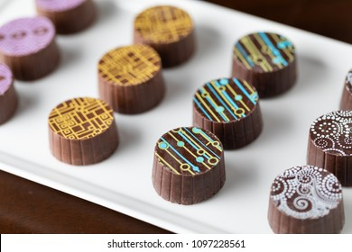 Artisan Fine Chocolate Candy On Serving Dish.