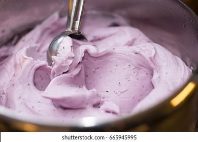 Artisan Italian ice cream gelato strawberry flavour.