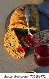 artisan made savoy olive loaf bread and artisan made sweet cactus fruit jelly