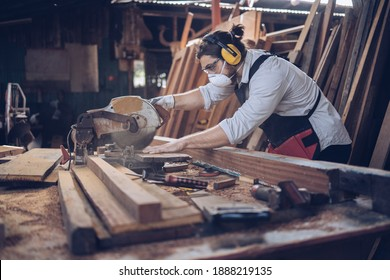 Artisan man Small factory industry, handicraft manufacturer, furniture professional in woodworking. Craftman working workshop maker construction.