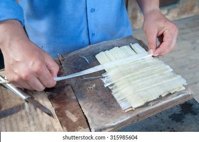 Auftritt des Papyrus-Papiers in Syrakus mit superimposanten, senkrecht langen dünnen Streifen, gewonnen aus dem Pflanzenstamm