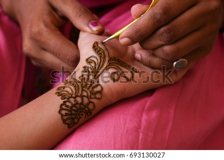 Artist Applying Beautiful Henna Tattoo Arabic Stock Photo Edit Now