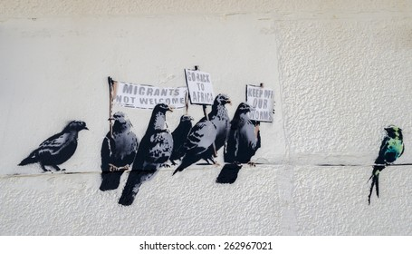 The artist Banksy controversial art work at Clacton-on-sea Essex on the 1st October 2014