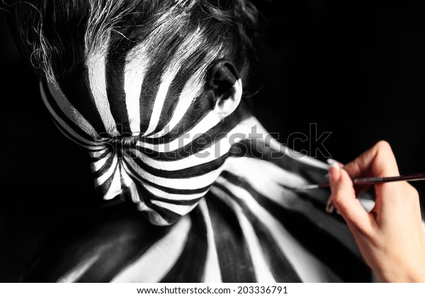 Artist Create Body Art On Girls Stock Photo Edit Now 203336791